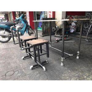 SBG58003 - Set bàn ghế gỗ chân ống nước mẫu 3